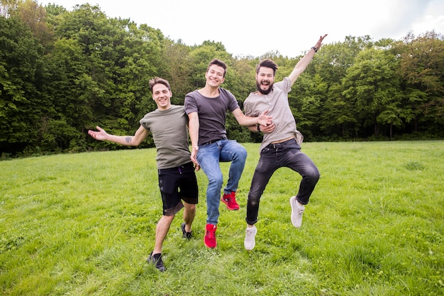 Positive friends jumping on meadow Free Photo