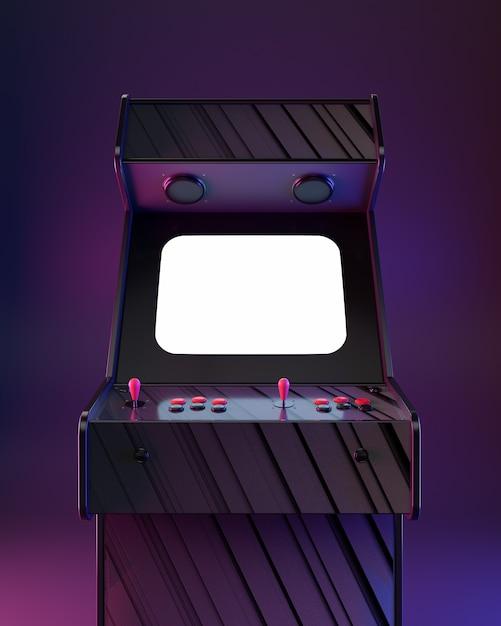 Постер аркадный автомат, стиль ретро волна! Premium Фотографии