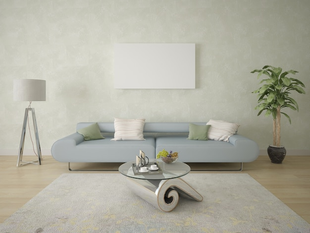 Poster on the background of contemporary wallpaper and a comfortable sofa Premium Photo
