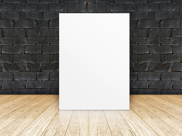Poster frame at black brick wall and wooden floor Premium Photo