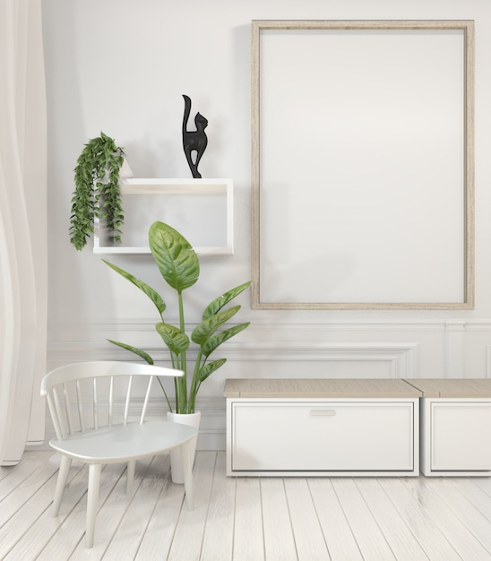Poster frame and cabinet and decoration plants on white room