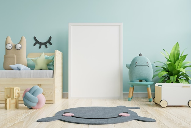 Poster frame in children room, kids room, nursery mockup. Premium Photo