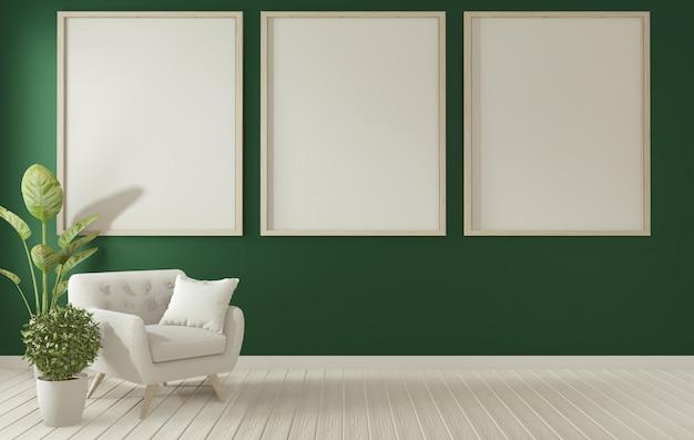 Poster frame on dark green living room interior.3d rendering ...