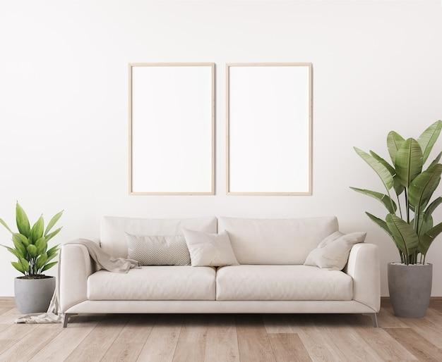 최소한의 밝은 거실 디자인의 포스터 프레임 모형 프리미엄 사진