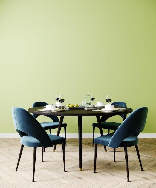 포스터는 식당, 파란색 의자와 녹색 벽, 3d 렌더링으로 세련된 인테리어를 조롱 프리미엄 사진