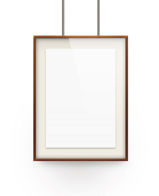 Poster mock up in the wooden frame isolated on white background. Premium Photo