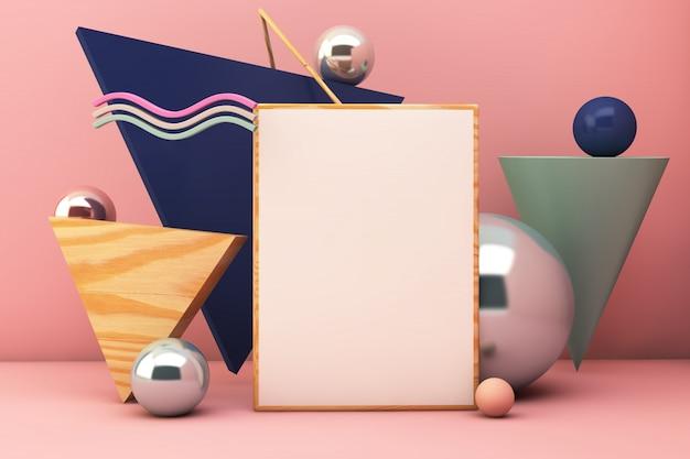 Poster mockup geometric elements Premium Photo