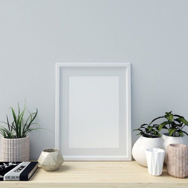 Poster Mockup Interior with Beautiful Decorations and Plants Premium Photo
