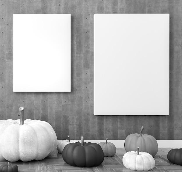 。リビングルームのポスターテンプレート。ハロウィーンの装飾。黒と白のカボチャ。 Premium写真