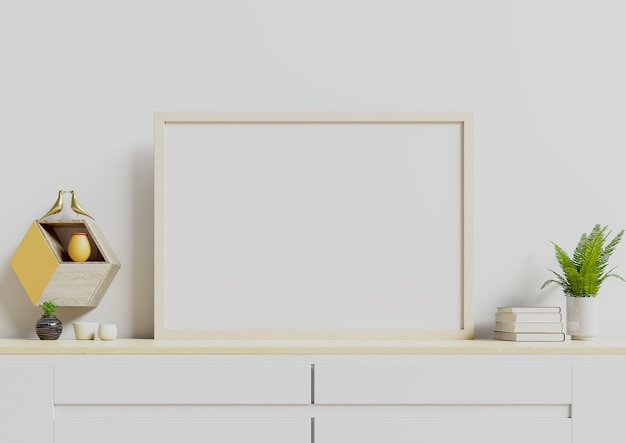 Poster with horizontal with plants in pots and  wall shelf on empty white wall. Premium Photo