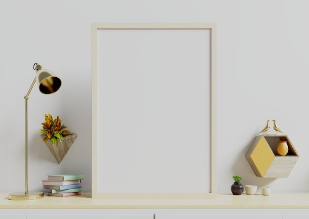 Poster with vertical with plants in pots and lamp,wall shelf on empty white wall. Premium Photo