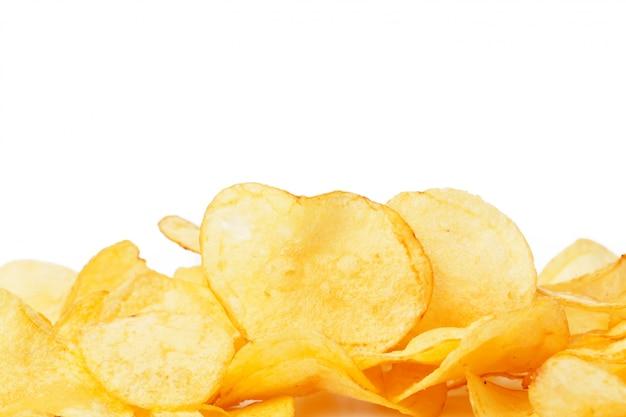 Potato chips isolated on white Premium Photo