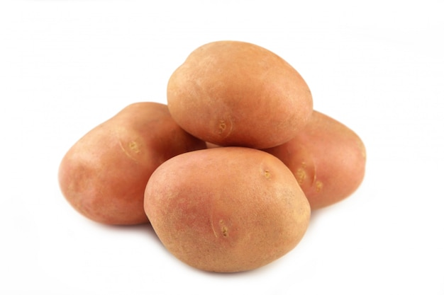Potatoes isolated on white background close up. top view Premium Photo