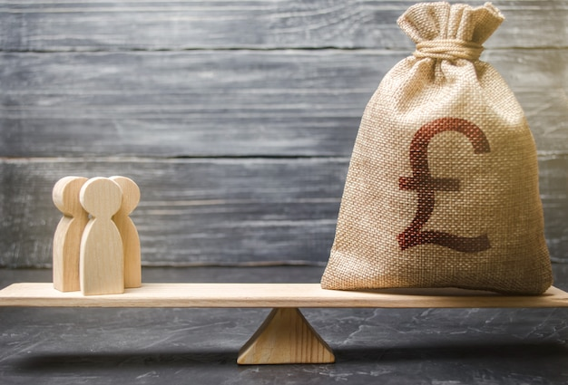 Pound sterling gbp symbol on money bag and people on scales. concept attracting investment Premium Photo