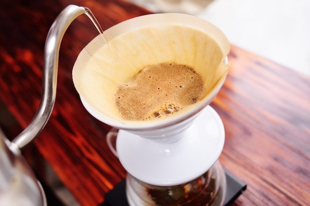 Pour over coffee. modern coffee making concept Premium Photo