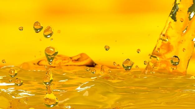 Pouring oil car motor gold color selective focus, 3d render. Premium Photo