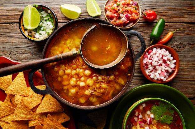 Pozole with mote big corn stew from mexico Premium Photo