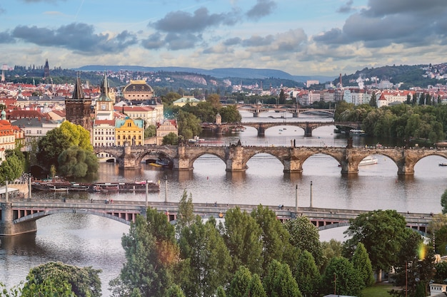 Prague city skyline and Charles Bridge, Prague, Czech Republic Free Photo