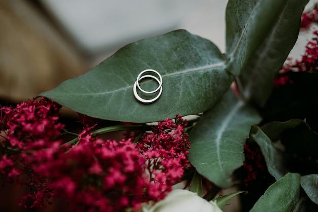 Preziosi e bellissimi anelli di fidanzamento in argento posti su una foglia di fiore Foto Gratuite