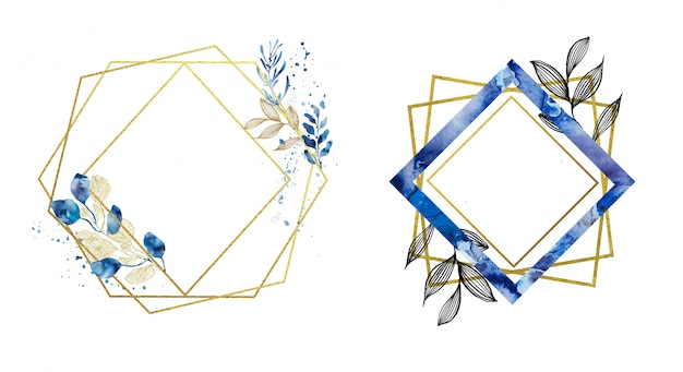 Premade gold and blue geometrical frames Premium Photo