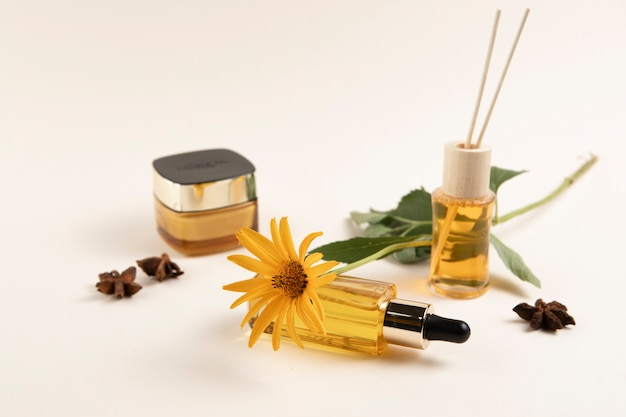 Premium cosmetics arrangement close-up Free Photo