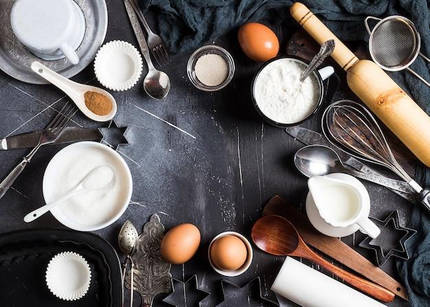 Preparation baking kitchen ingredients for cooking frame Free Photo