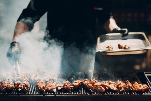 Preparation of shish kebab meat Premium Photo