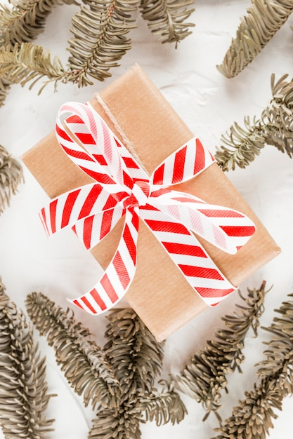 Present box in brown wrap between coniferous branches Free Photo
