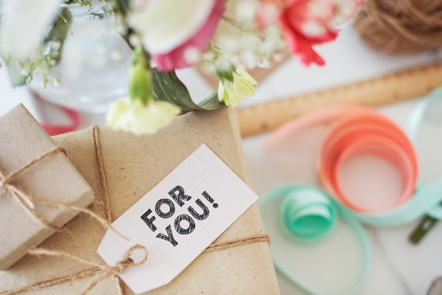 Present box with for you tag Premium Photo