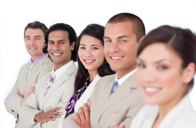 Presentation of a business team lining up Premium Photo