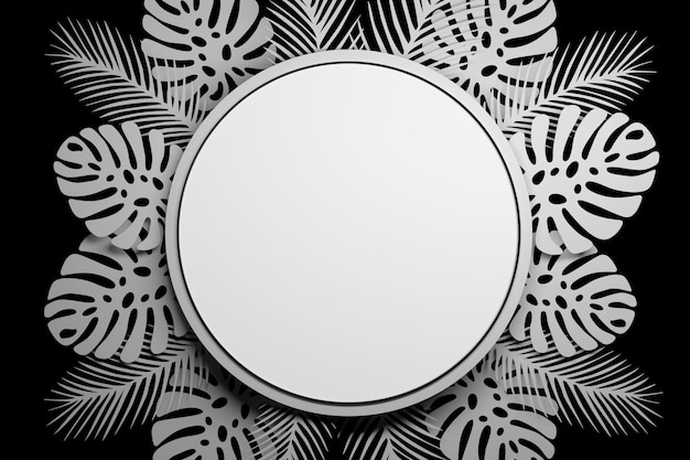 Presentation mock up circle with tropical leaves Premium Photo