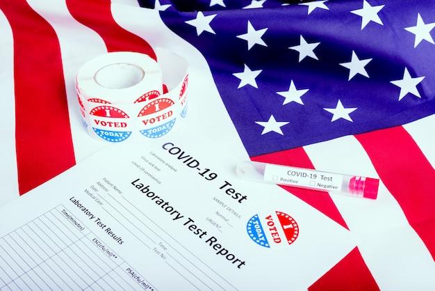 激しい流行に直面して医学的決定を待っている米国の大統領選挙19 Premium写真