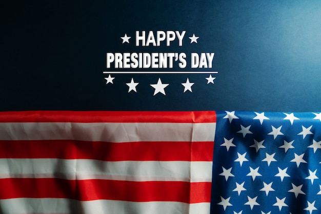 Presidents day celebrate on america flag background Premium Photo