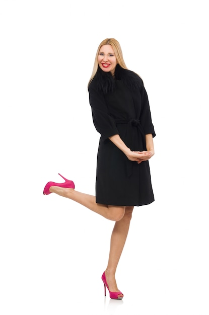 Pretty blond woman in black coat isolated on white Premium Photo