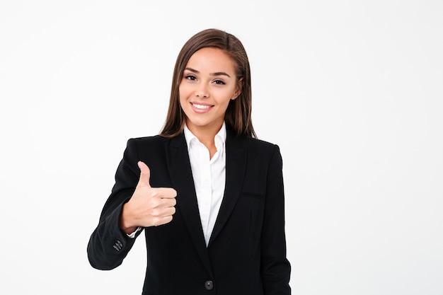 親指を現してかなり陽気なビジネス女性 無料写真