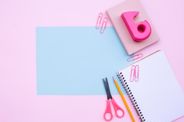 Pretty desktop composition with light blue frame for mock up Free Photo