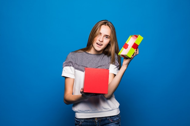 Pretty girl become empty giftbox for her birthday Free Photo