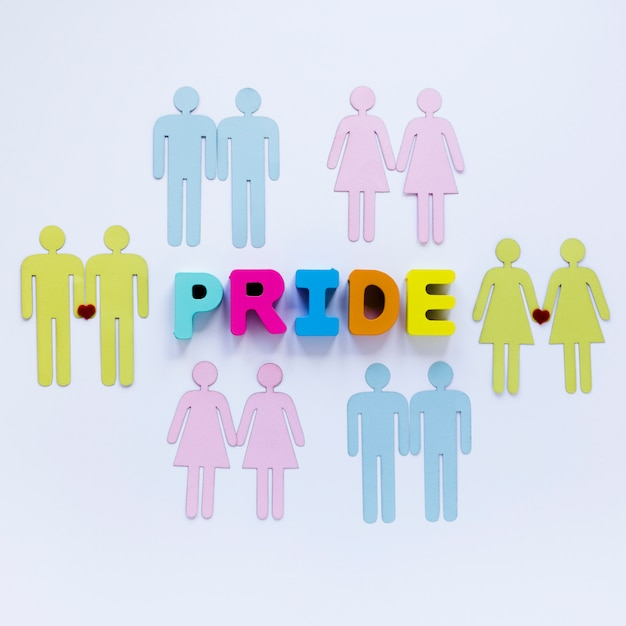 Pride inscription with homosexual couples icons Free Photo