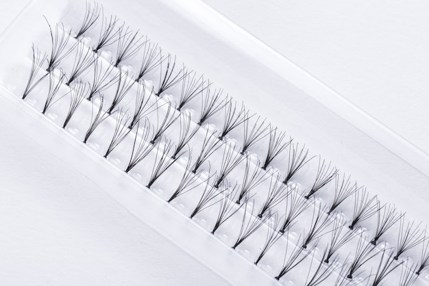 Prifessional set of false eyelashes, closeup Premium Photo
