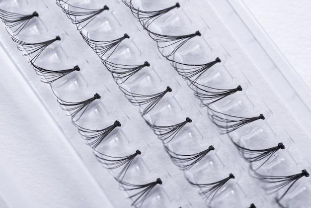 Prifessional set of false eyelashes, closeup Premium Photo