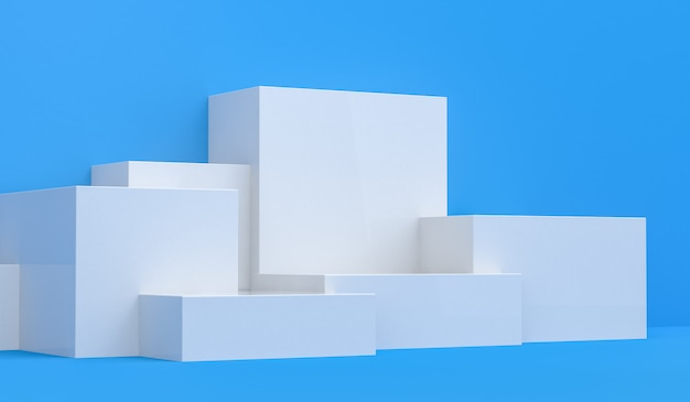 Primitive geometrical figures, 3d render, podium for the advertized goods Premium Photo