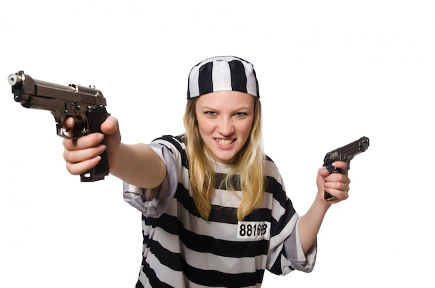 Prisoner woman with guns isolated Premium Photo
