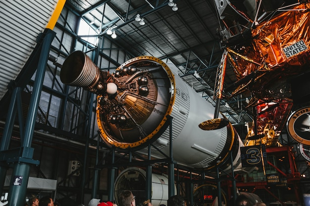 Process of building a space rocket engine Free Photo