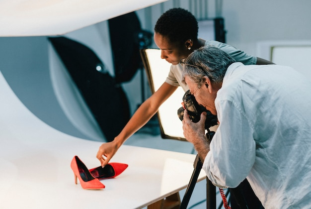 Product photography shoot of shoes Premium Photo