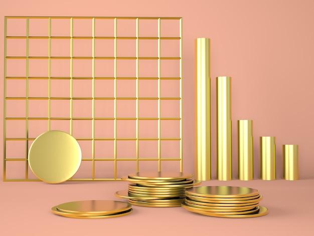 パステルカラーの背景3dにお金で製品表彰台 Premium写真