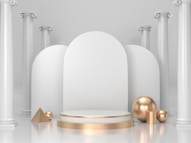化粧品または任意のproduct.whiteとゴールドの表彰台背景の3 dレンダリング表彰台背景 Premium写真