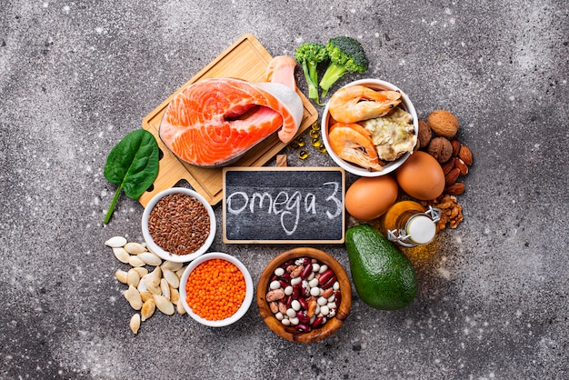 Products sources of omega-3 acids Premium Photo