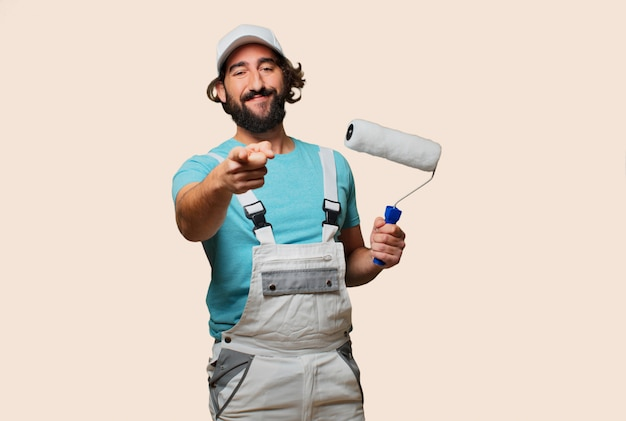Profesional painter pointing Premium Photo