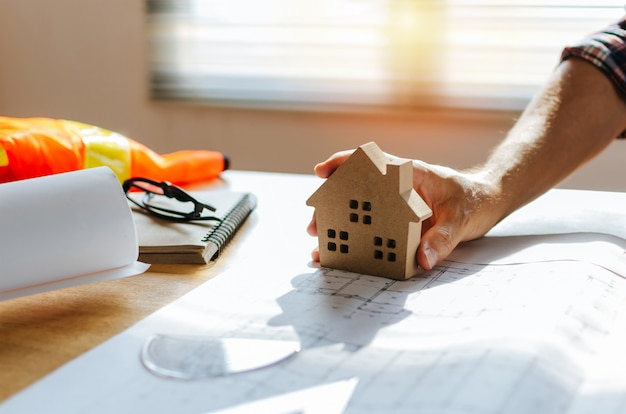 Professional architect, engineer or interior hand Premium Photo