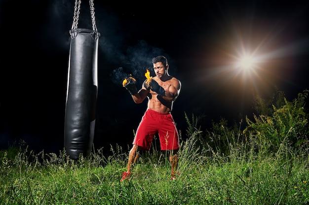 Professional boxer exercising in boxing gloves Premium Photo